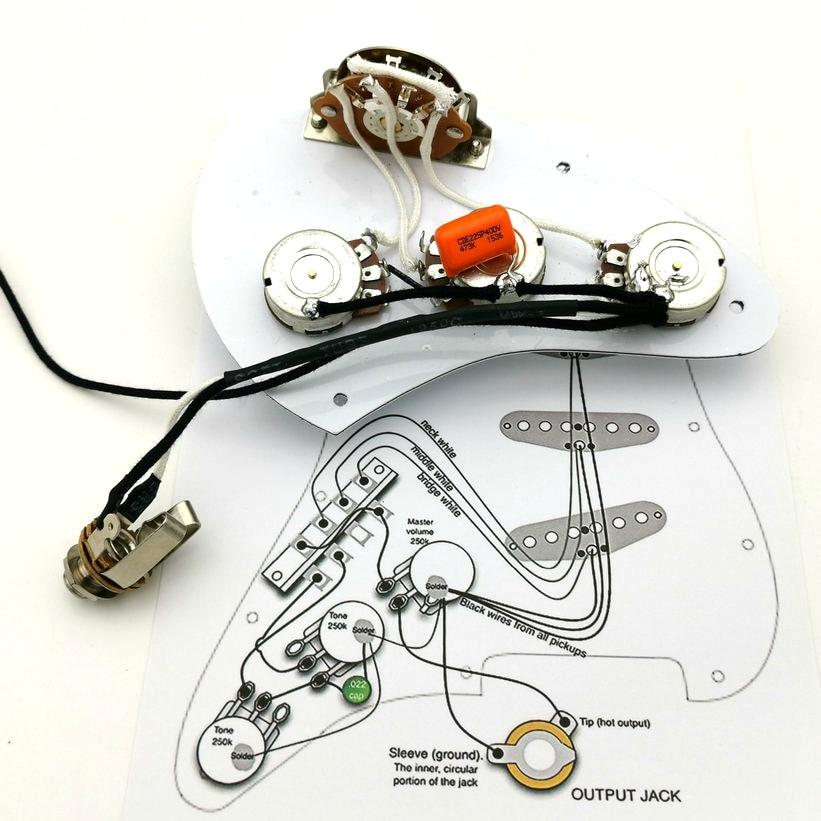 ST pastillas de guitarra, arnés de cableado de guitarra 250K, potenciómetro de eje de cobre, pastillas de guitarra, adecuado para guitarra ST