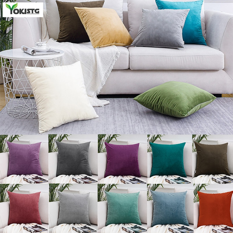 Solid Color Velvet Pillowcases Soft Cushion Covers Square Decorative Pillows For Sofa Bed Car Home Throw Pillow Christmas Gift 2019 christmas throw pillow covers santa clause 0utdoor pillow decorations for home sofa bed pillowcase xmas party kids gift