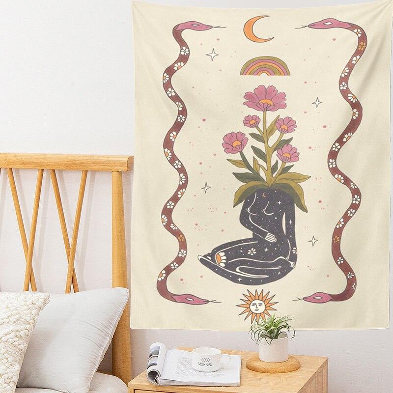 Таро карточка гобелен Астрология гадания ведро Солнце Луна богиня Солнце Луна Звезда Настенный декор растение цветок гобелен