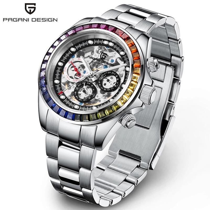 2021 جديد PAGANI تصميم قوس قزح الحافة الرجال الميكانيكية ساعة معصم ساعة أوتوماتيكية فاخرة للرجال الفولاذ المقاوم للصدأ مقاوم للماء على مدار السا...