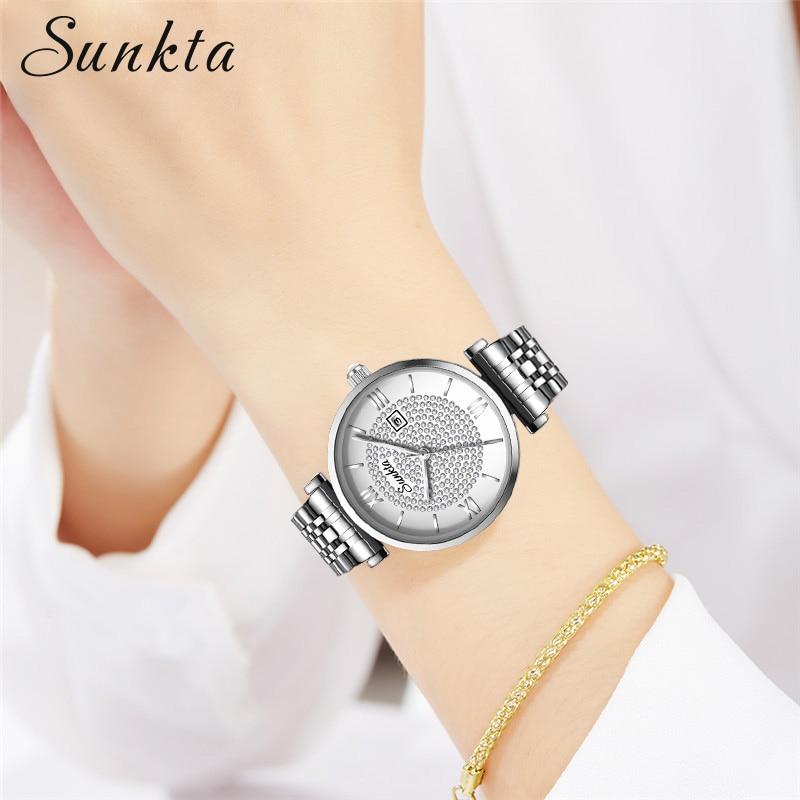 SUNKTA Fashion Women Watches Rose Gold Ladies Bracelet Watches Reloj Mujer 2020 New Creative Waterproof Quartz Watches For Women enlarge