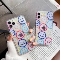 phone case for iphone 12 mini 7 8 plus x xs xr xsmax 11 12 pro max funny smile face cover clear soft tpu shockproof design cases
