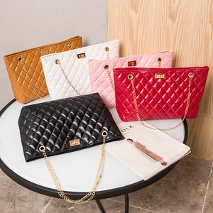 Female Bag 2021 New Embroidered Lock Chain Shopping Bag Fashion Casual Shoulder Bag Large Capacity Handbag Practical