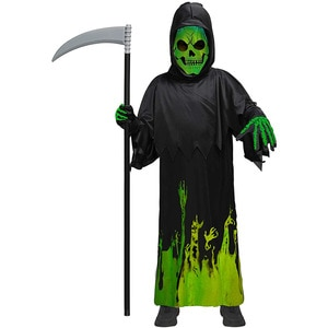 Horrifying Grim Reaper Costume Cosplay Green Glow In The Dark Uniform 2021 Halloween Costume for Kids Carnival Party Ghost Suit
