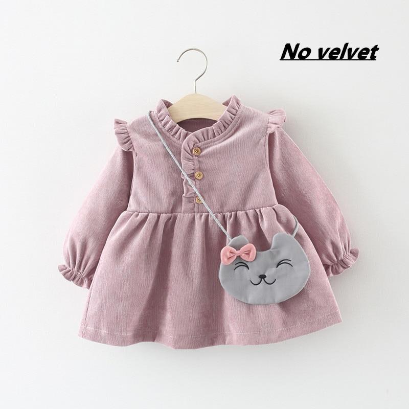 Roupas de bebê 2020 outono primavera wear grosso quente bebê meninas princesa vestido de veludo de manga longa vestidos de festa roupas de bebê