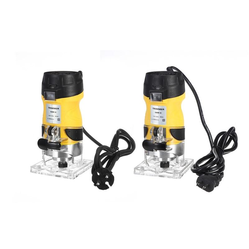 Conjunto de Ferramentas Elétrica Mão Trimmer Madeira Roteador 6.35mm Laminador Palms Carpintaria Corte Elétricas 110v – 220v 2200w