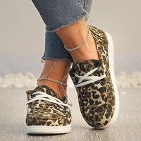2021 women sneakers canvas shoes solid leopard breathable casual sneakers woman flats lace up round toe womens vulcanize shoes