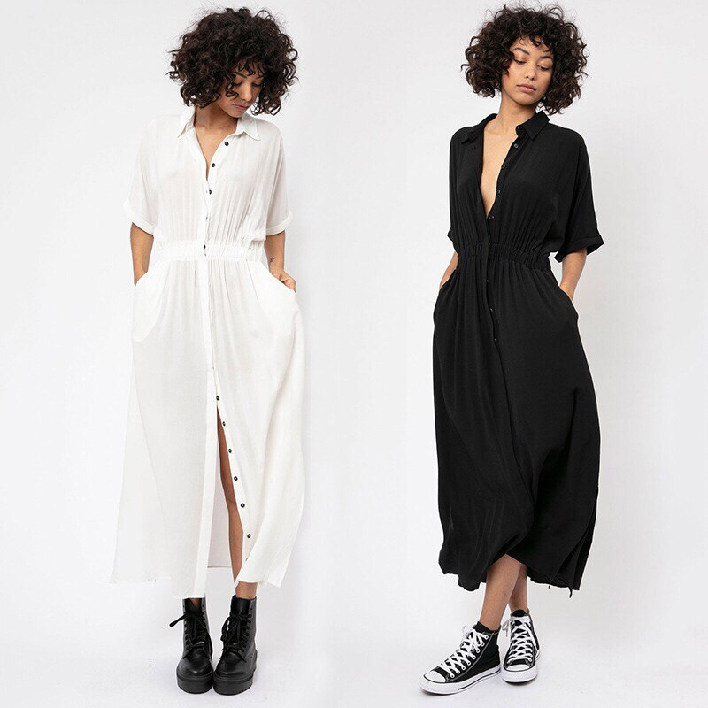 Algodão praia kaftan biquíni cobrir beachwear kimonos verano botão vestido longo