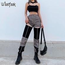 Waataak évider contraste taille haute Cargo pantalon femme rayé Patchwork taille élastique Streetwear crayon pantalon femmes 2020