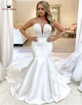 Sexy Wedding Dresses Mermaid Strapless V-neck Satin Lace Appliques 2021 New Design Vintage Simple Bride Gowns Custom Made SD02