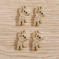 4pcs 1020mm lovely crystal bear charms for making bracelets earrings pendants necklace animal charms diy handmade jewelry craft