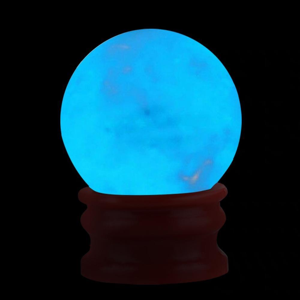35mm incrível bola fluorescente azul luminosa brilhante pedra de quartzo esfera cristal quarto decoração bola brilho pedra um melhor presente a