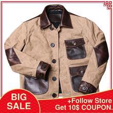 2020 brun clair américain décontracté épissé veste en cuir grande taille XXXL véritable peau de vache automne coupe ajustée en cuir manteau