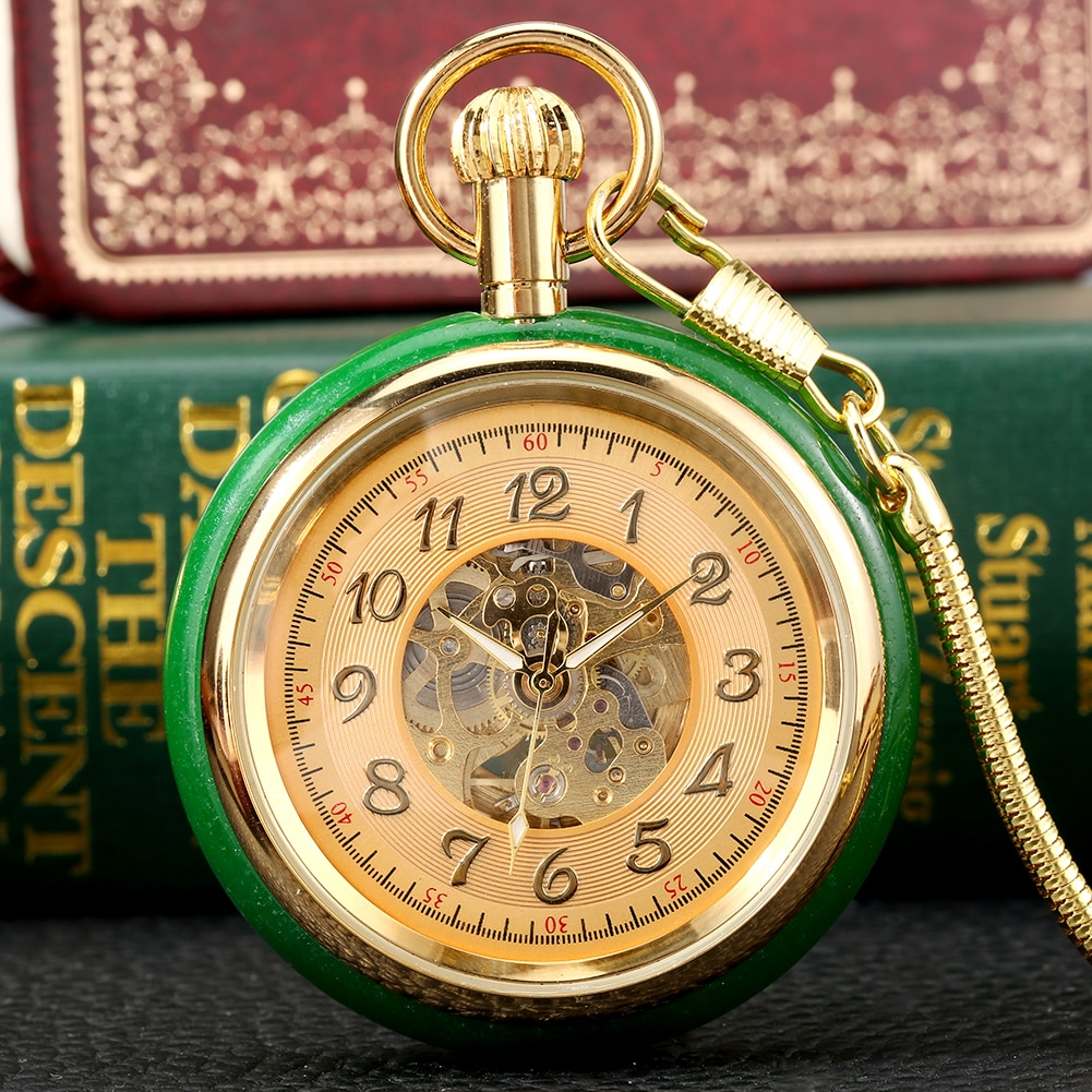 Top Luxury Automatic Self Winding Pocket Watch Unisex Exquisite Hollow Luminous Arabic Numerals Pendant Clock with 30 cm Chain