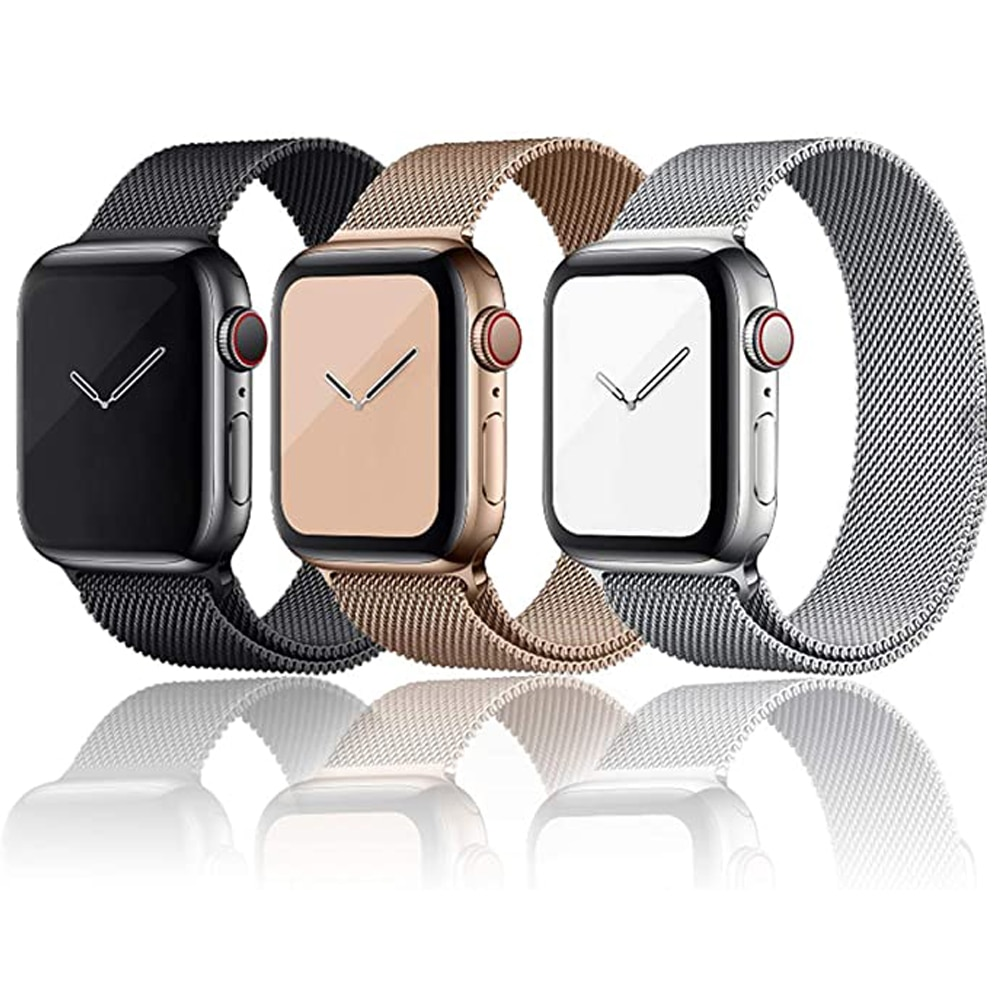 2 pcs strap for apple watch band 44 mm 40mm iwatch band 42mm 38 mm stainless steel bracelet milanese loop apple watch 4 5 3 2 1 For Apple Watch Band 44 mm 40mm 42mm 38mm Milanese Magnet Stainless Steel Bracelet Strap for Apple Watch Series 6 5 4 3 SE 44mm