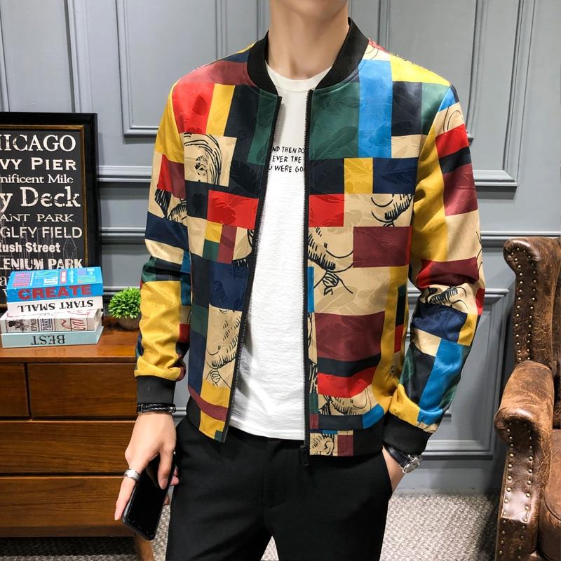 De talla grande M-5XL Vintage chaqueta hombres chaqueta Floral hombres Patchwork larga cremallera manga abrigo chaquetas de los hombres chaqueta piloto