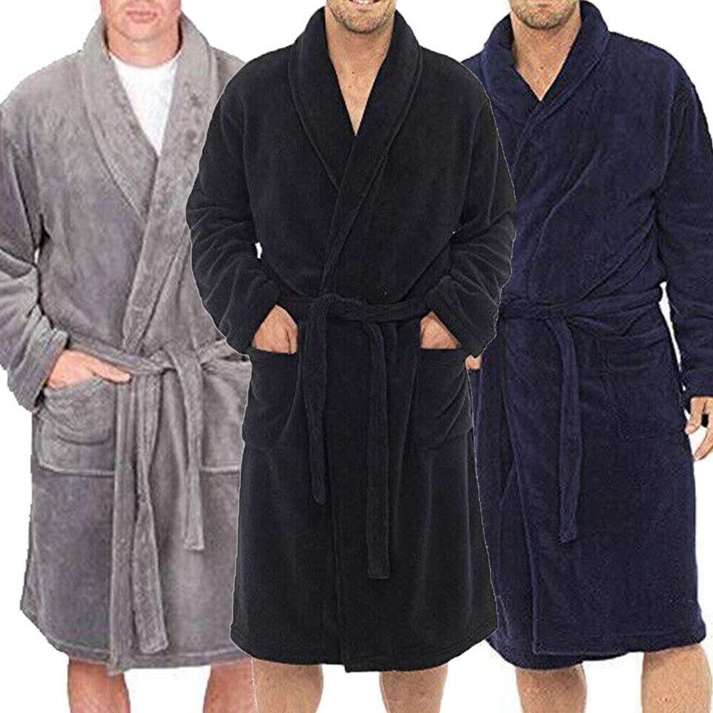 Fashion Casual Mens Bathrobes Robe V Neck Long Sleeve Couple Men Woman Robe Plush Shawl Kimono Warm