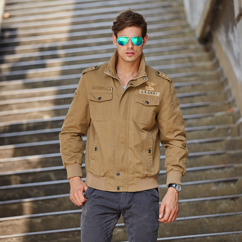 Mens New Spring/Fall All-Cotton Jacket Military Aviator And M-4XL BVCHAJ Casual Solid Color Stand Collar Air ForceJacket