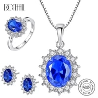 doteffil natural birthstone royal blue oval topaz jewelry set ringearringnecklace 925 silver fine jewelry for women brincos