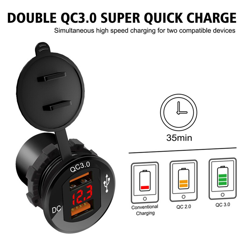 Автомобильное зарядное устройство для телефона из алюминиевого сплава с двойной быстрой зарядкой QC3.0 30 Вт, автомобильное зарядное устройст...