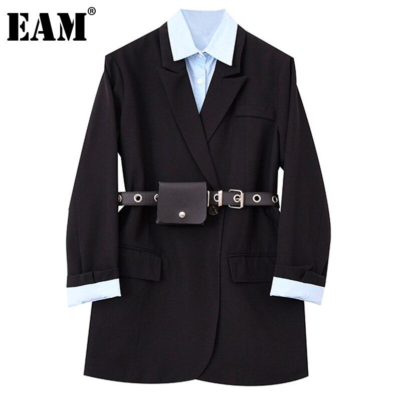 [EAM] سترة نسائية سوداء اللون بلون مغاير مع حزام سترة جديدة فضفاضة بأكمام طويلة مناسبة للربيع والخريف 2021 1DE0886