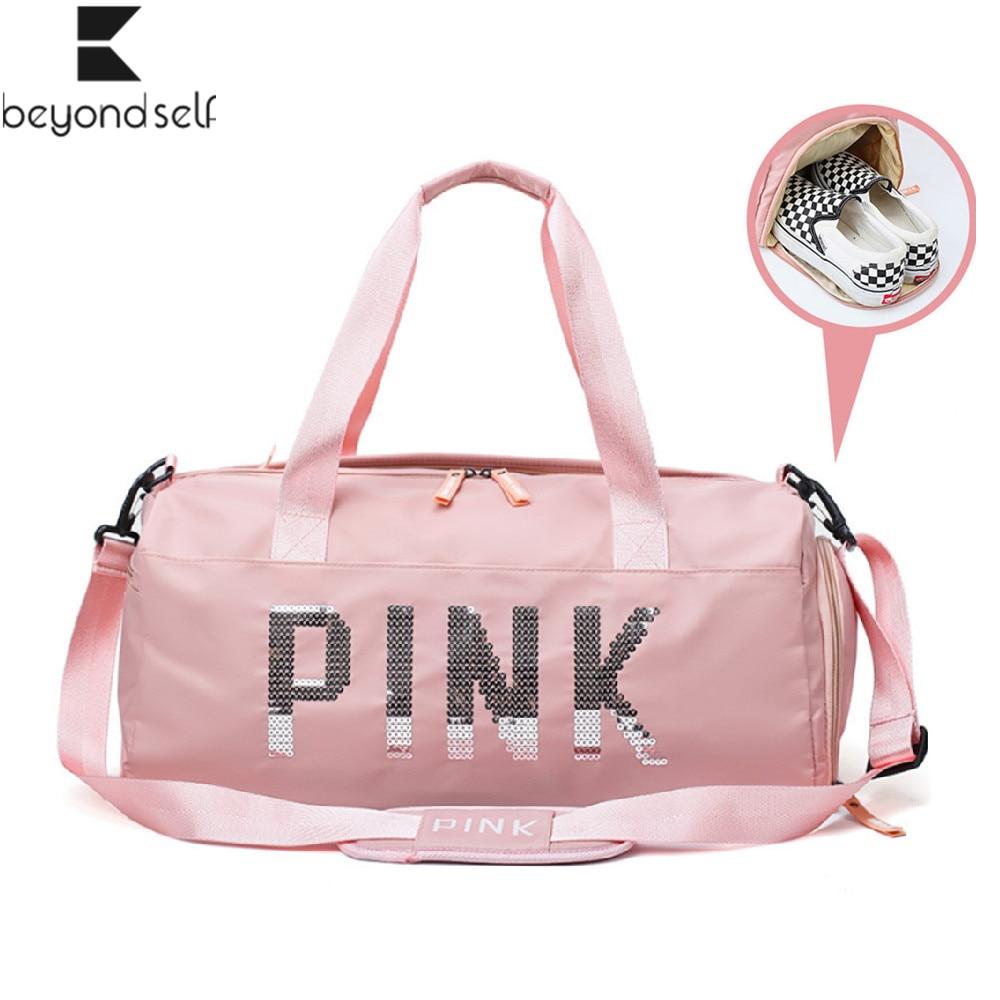 20-35L Fitness Training Bag Dry Wet Separation Shoes Bags Sequins PINK Letter Outdoor Sports Gym Bag Package Yoga Handbag 9B66