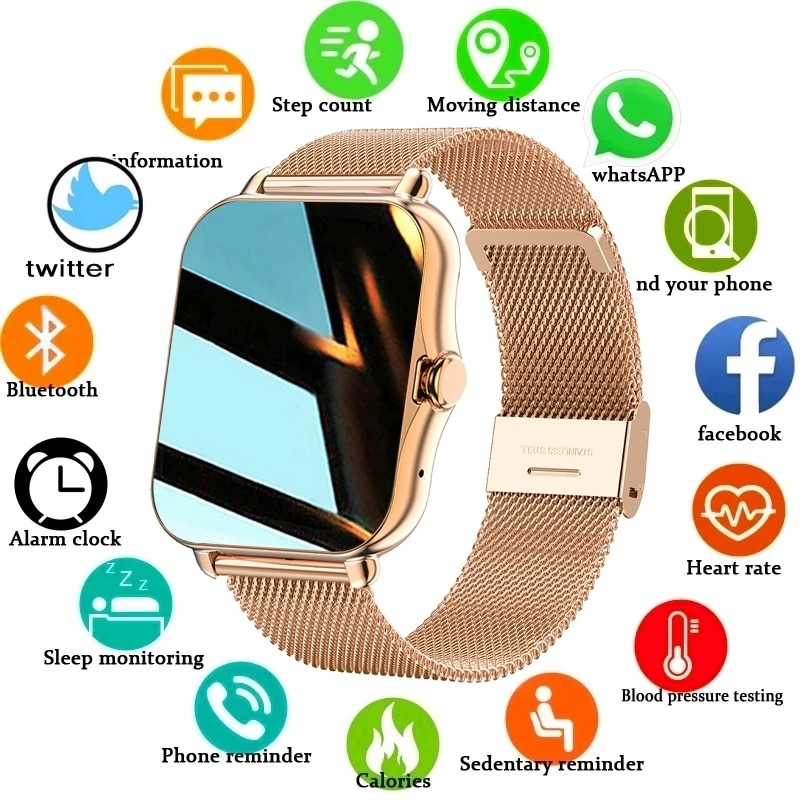 2021 New Color Screen Smart watch Ladies men Full touch fitness tracker Blood pressure smart clock l