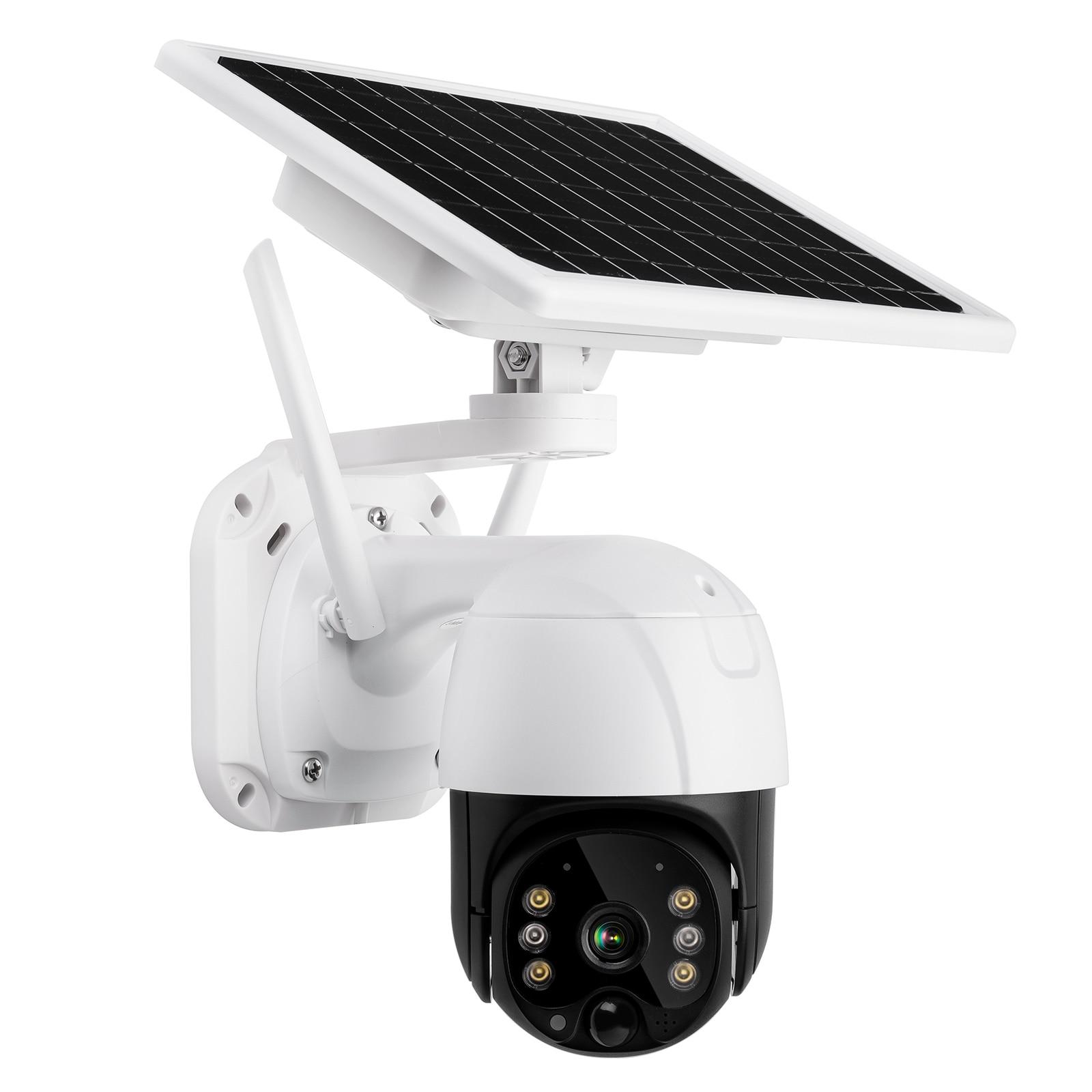 4G سيم بطاقة واي فاي IP كاميرا متحركة 8 واط لوحة طاقة شمسية بطارية قابلة للشحن كشف الحركة PIR إنذار النجوم الرئيسية P2P كاميرا الأمن