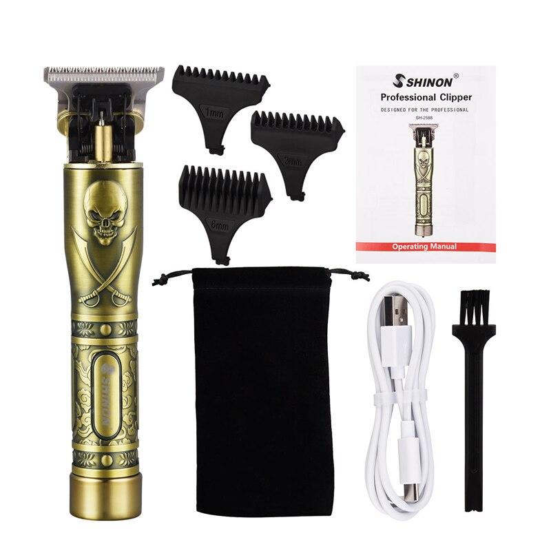 Profissional aparador de pêlos barba máquina de cortar cabelo elétrica barbeiro t-lâmina borda contornos corte de cabelo 0mm máquina recarregável clippers