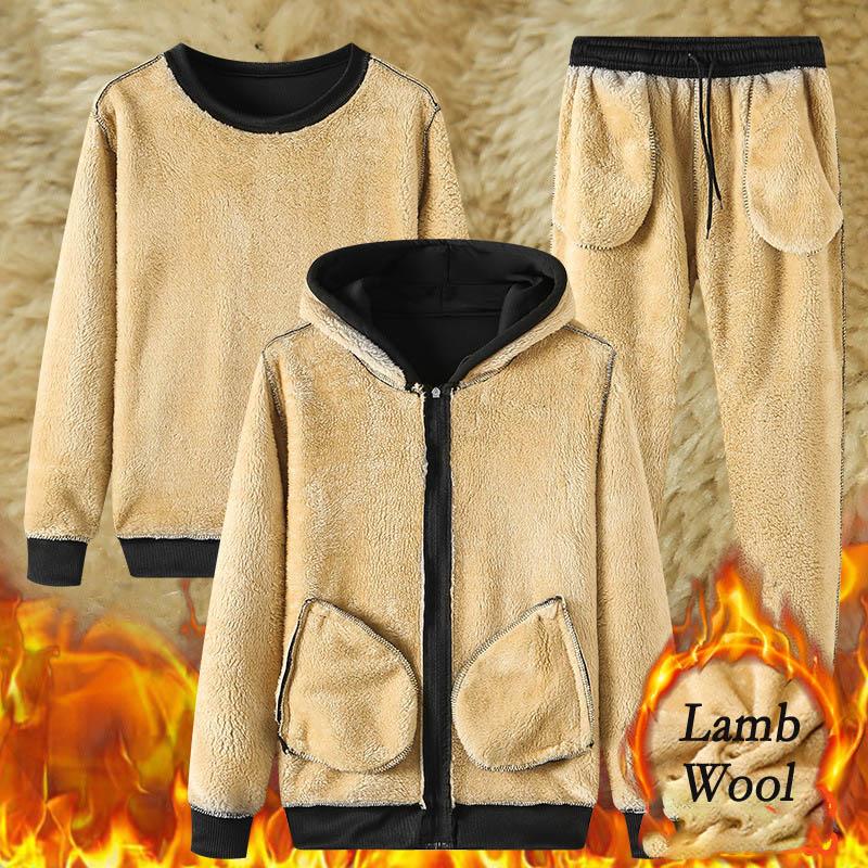 2021 Winter Thick Warm Lamb Wool Tracksuit Men Hooded Running Sets Hoodies Jacket+Pants Casual Sweat