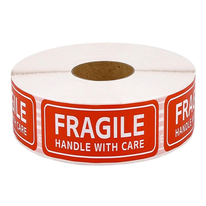 250 etichette adesivi fragili 1 rotolo 2.5cm * 7cm maniglia Fragile o piegata con attenzione attenzione imballaggio grazie etichette di spedizione adesivi