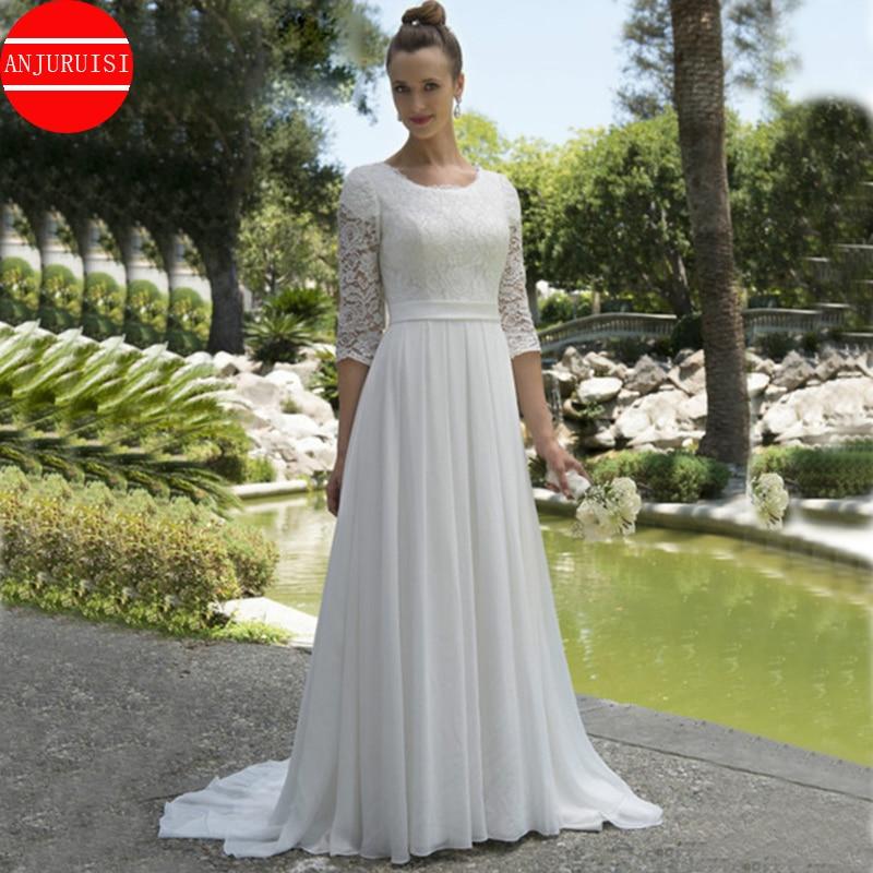 Vestido de noiva chiffon, vestido de casamento vintage de chiffon com mangas 2020 de renda, para noiva, jardim, botões, elegante, 3/4