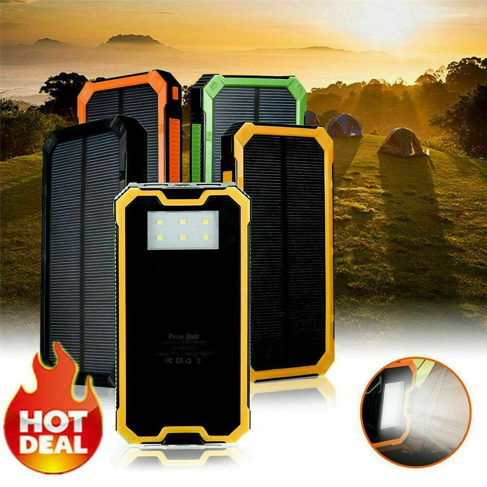 2000000mAh Solar Power Bank Case Waterproof 2 USB LED Battery Portable Mobile Phone Charger Case For Xiaomi Samsung IPhone