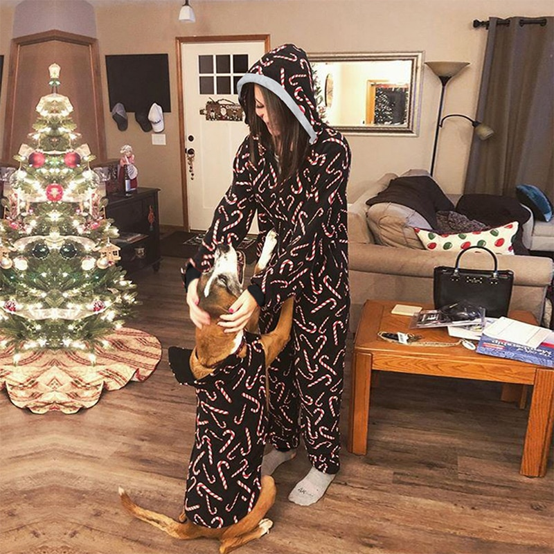 Women Sexy Slim Long Sleeve Zipper Pajamas Party Christmas Snowman Deer Print Hooded Jumpsuits 2021 Home Wear Lady Rompers New enlarge