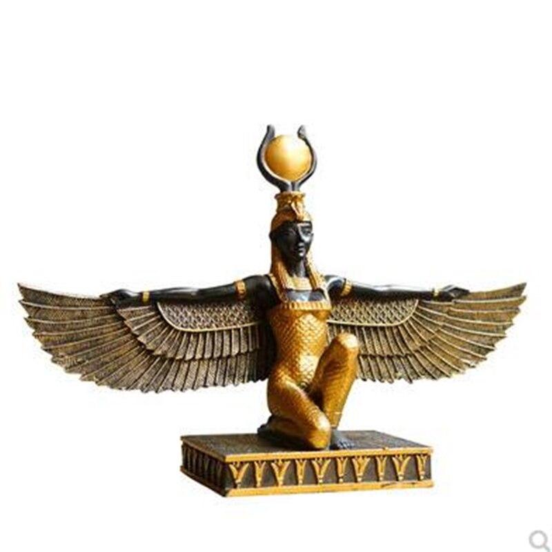 Mitología egipcia Isis diosa escultura de resina artesanía tierra patrón Santo Ojo de Egipto Decoración Para estantería creativa A809