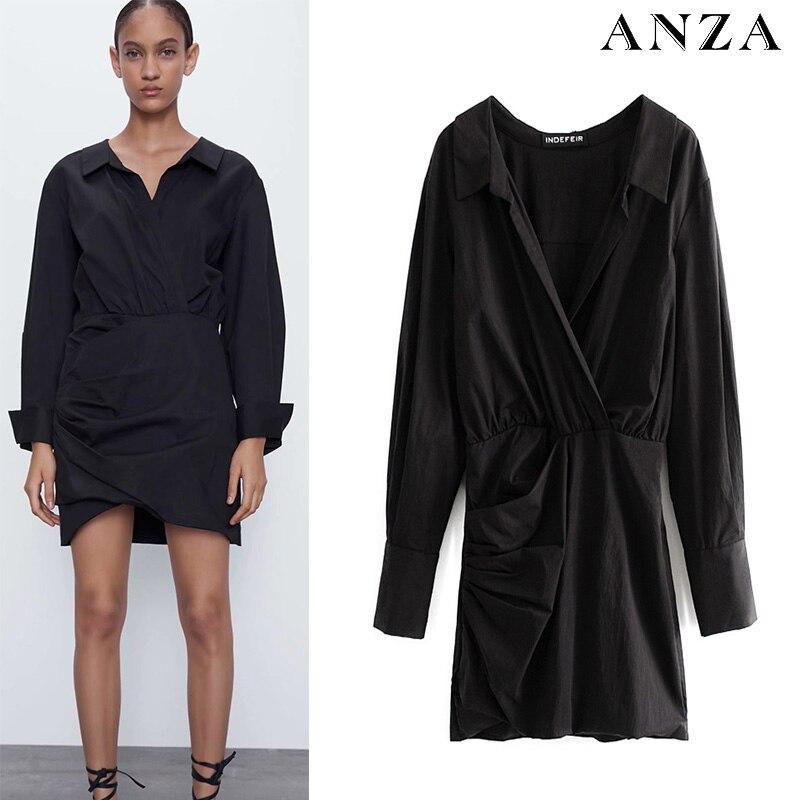 2020 mujeres verano minivestido sólido de manga larga de algodón Shirtdress Casual suelta A-line negro vestido de mujer elegante negro Shirtdress