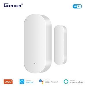 GIRIER Tuya Wifi Door/Window Sensor Smart Door Open Closed Detector App Notification Alert Compatible with Alexa Google Home