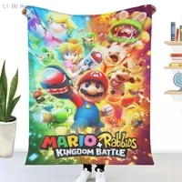 super mario blanket plaid flannel throw printed quilts keep warm sofa bedroom sherpa blankets family bed bedding gift