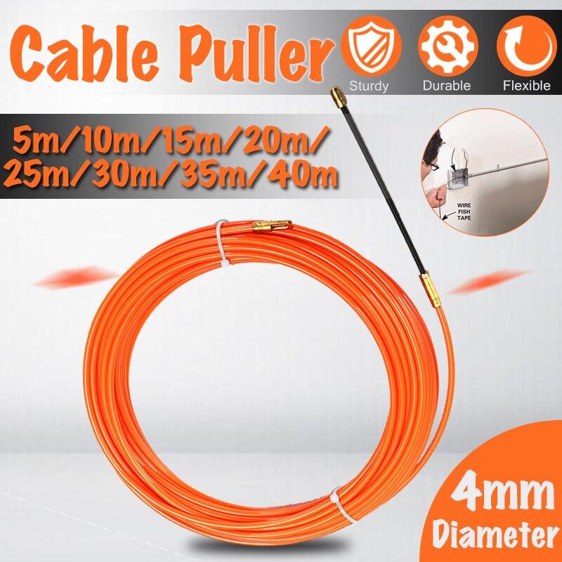 4mm 5 Meter Zu 40 Meter Orange Guide Gerät Nylon Elektrische Kabel Push Abzieher Kanal Schlange Rodder Fisch Band draht