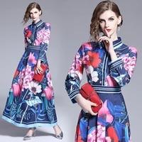 autumn boho turndown print maxi dress for women casual long sleeve fashion blue high waist elegant club party dresses vestidos