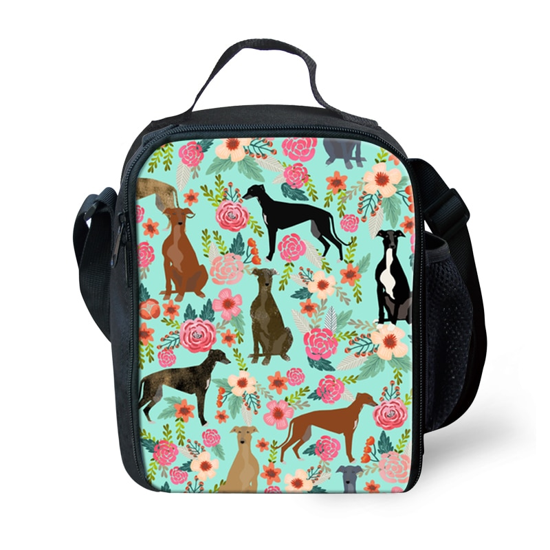Customzied Insulated Lunch Bag Thermal Greyhounds Printing Tote Bags Picnic Food Box for Women Girls Ladies Kids