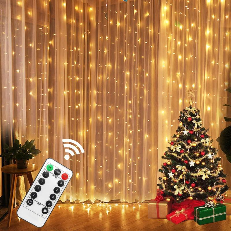 AliExpress - 3M LED Fairy Lights Garland Led Festoon Curtain Lamp Remote Control USB Curtains String Lights Christmas Decoration for Home