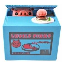 Cute Pig Stealing Coins Cents Penny Buck Saving Money Box Pot Case Piggy Bank(pack of one)
