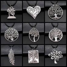 Vintage femmes bijoux cadeau arbre feuille branche pendentif collier arbre de vie collier en cuir noir chaîne collier