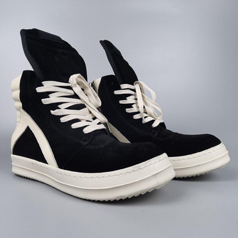 ريك شارع العليا ماركة رو Owens البقر المدبوغ حذاء رجالي كاجوال المدربين الفاخرة الرجال أحذية رياضية الذكور أحذية رياضية المرأة أحذية رياضية