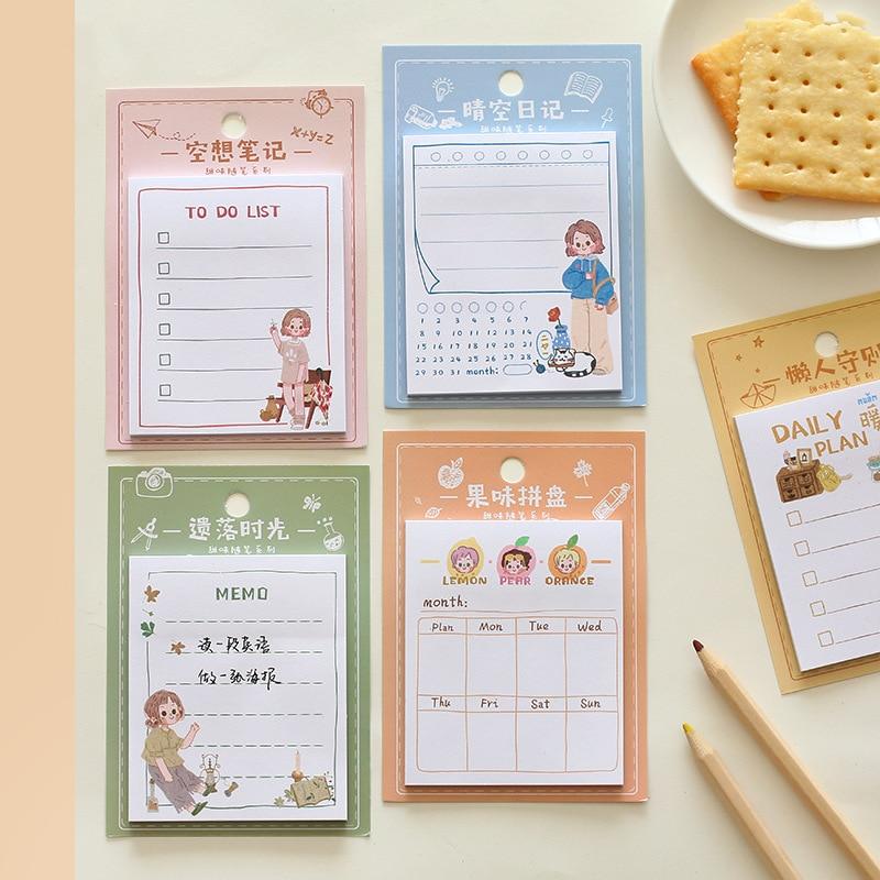 1 set/lote almofadas de memorando notas pegajosas doce ensaio papel diário scrapbooking adesivos escritório escola papelaria bloco de notas