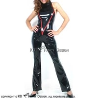 black and red sexy halter latex catsuit with v trims decoration rubber bodysuit zentai overall body suit lty 0230