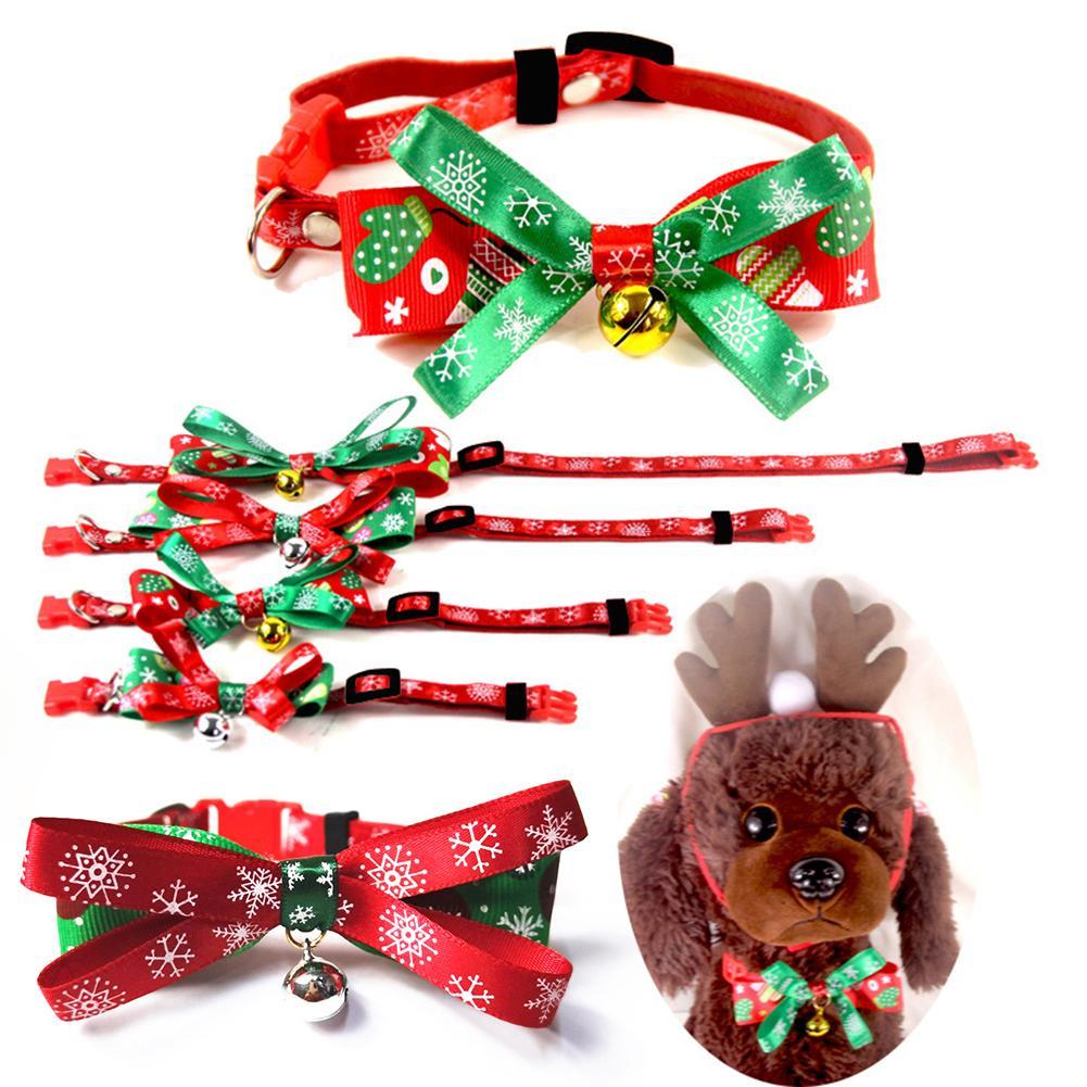 Collar ajustable para perros y gatos, correa de cuello de conejo, remedio de seguridad, suministros de Collar de nailon para mascotas, pajarita para regalo de Navidad 1 ud.