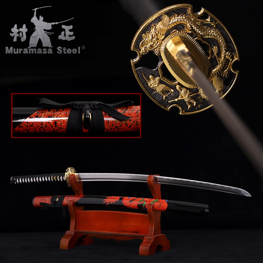 Real Japanese Katana-1045 Carbon Steel Blade Series Full Tang Razor Sharp Wood Sheath Red/Black /Dragon Samurai Sword