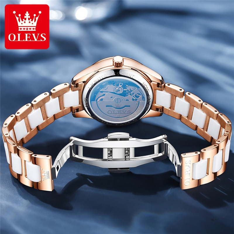OLEVS White Ceramic Women Watches Bracelet Rose Gold Steel Case Calendar Ladies Self-wind Mechanical Watch Elegance Wristwatch enlarge